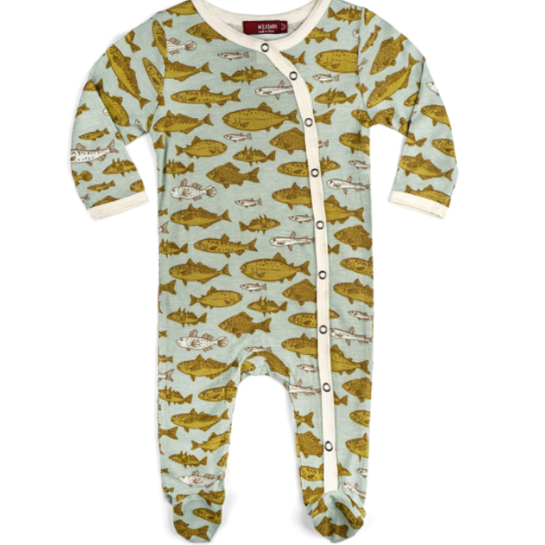 Bamboo Footed Romper - Blue Fish