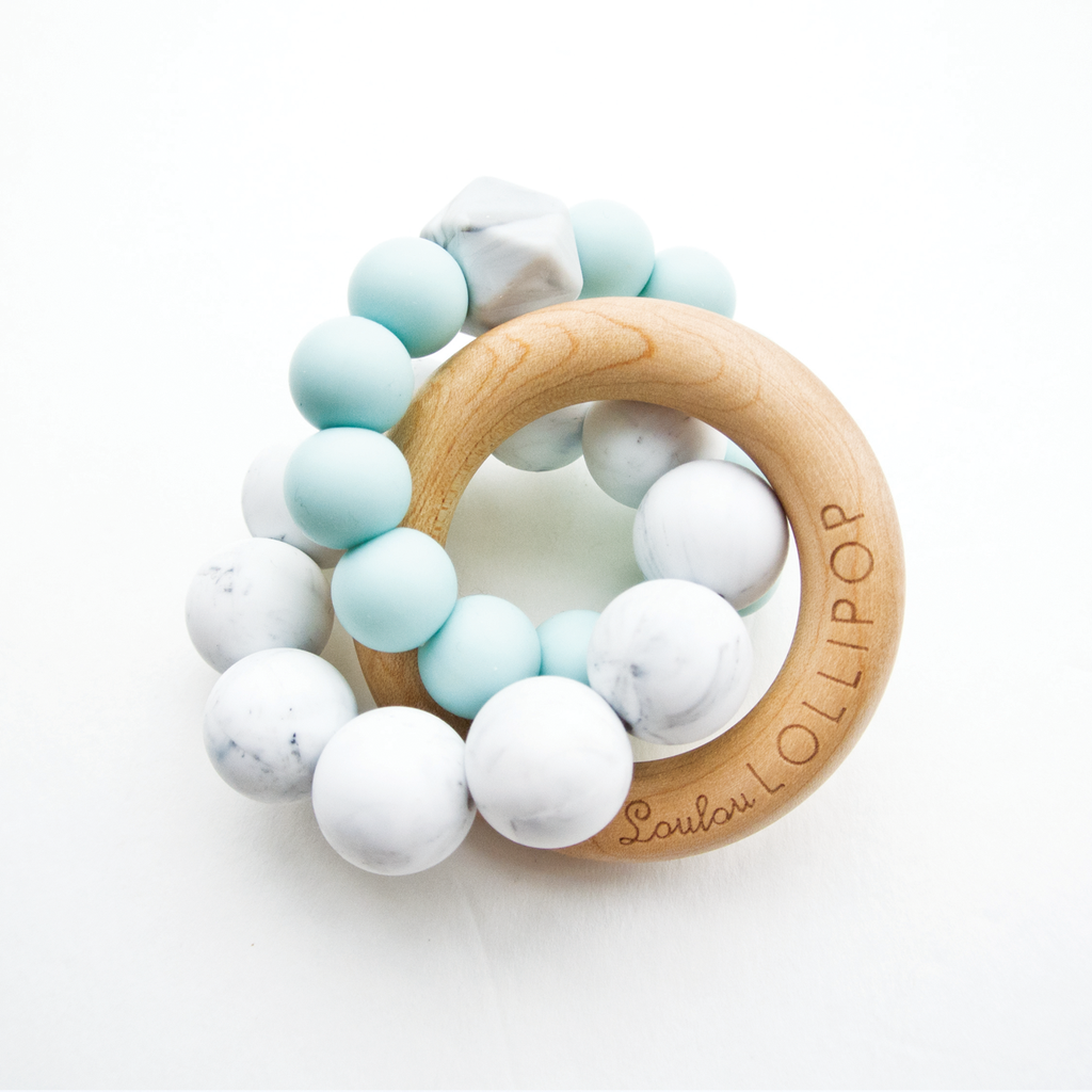 Trinity Silicone & Wood Teether Robin's Egg Blue