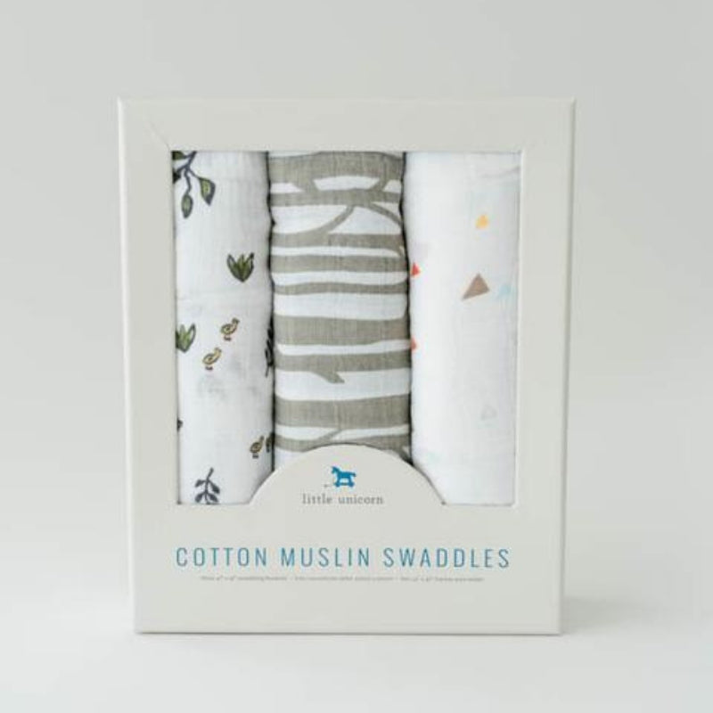 Cotton Swaddle Blanket Set- Forest Friends