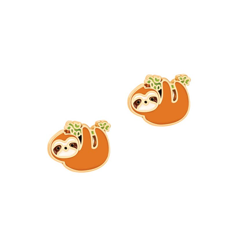 Cutie Enamel Stud Earrings/Playful Sloth