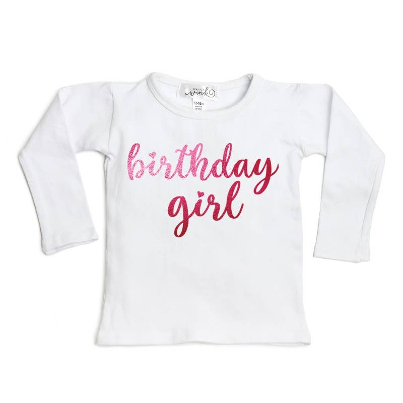Birthday Girl long sleeve white tee