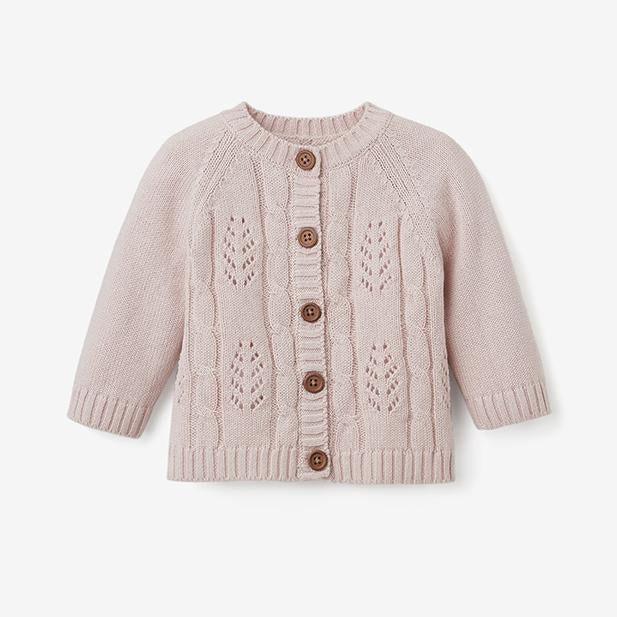 Blush Leaf  Pointelle Baby Cardigan