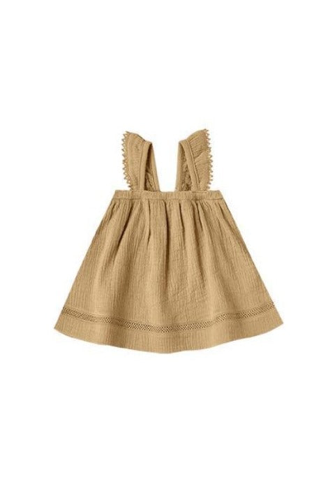 Quincy Mae Woven Ruffle Tube Dress/Gold with Bloomers