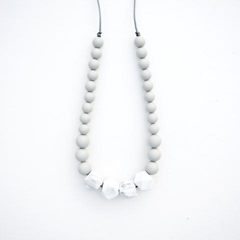 Geo White Marble Silicone Necklace Cool Grey