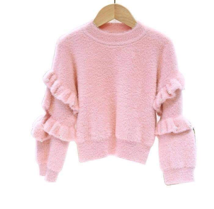 Girls Ruffle Sleeve Crop Sweater