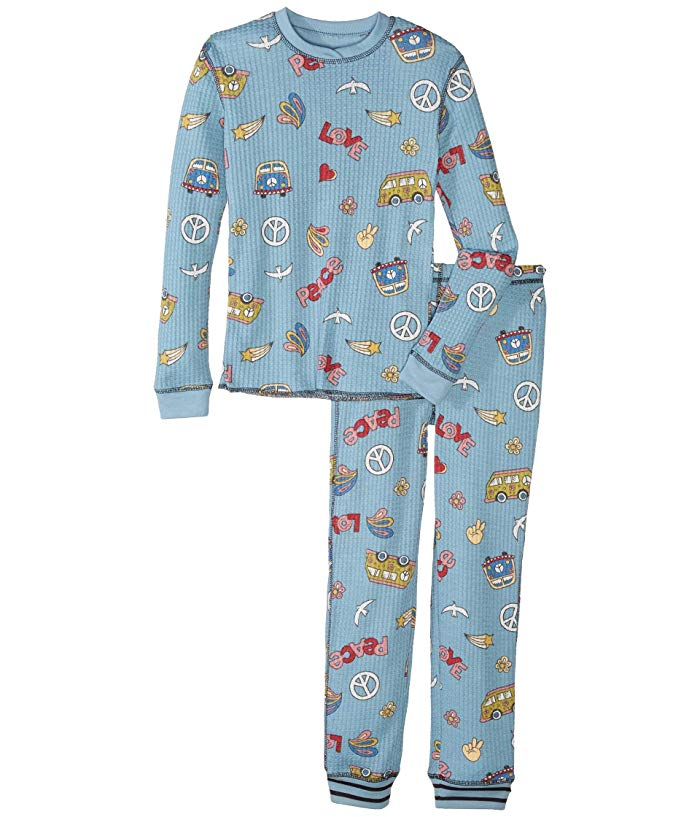 Girls Peace & Love Denim Thermal PJ Set