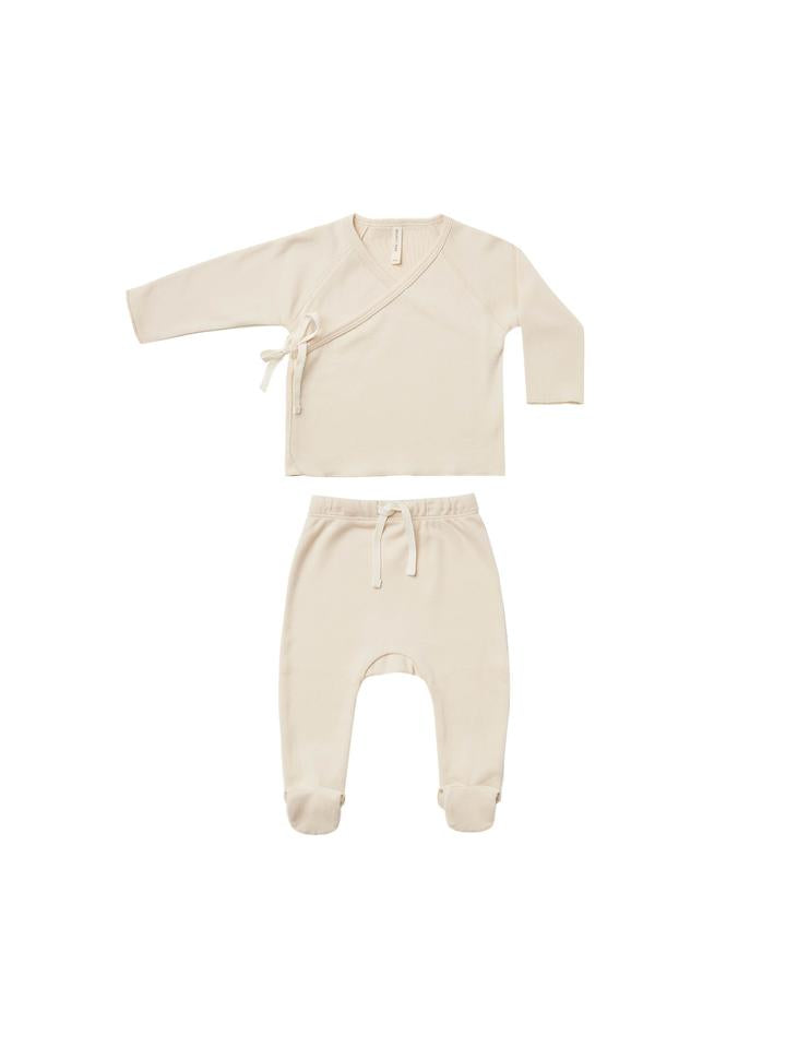 Quincy Mae Kimono Top and Footed Pant Set/Natural