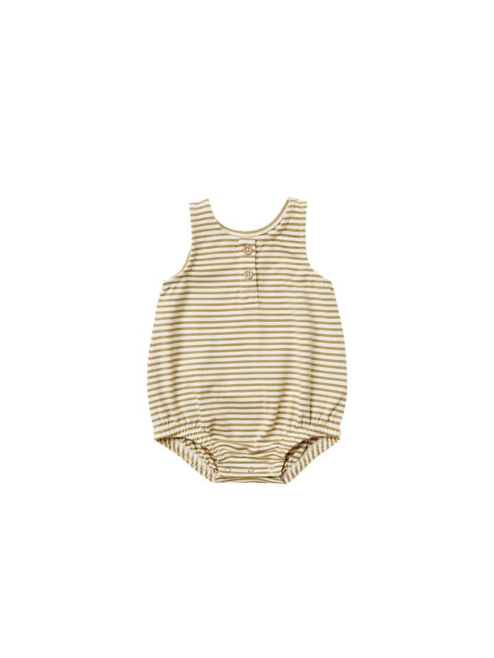 Quincy Mae Sleeveless Bubble Onesie/Gold Stripe