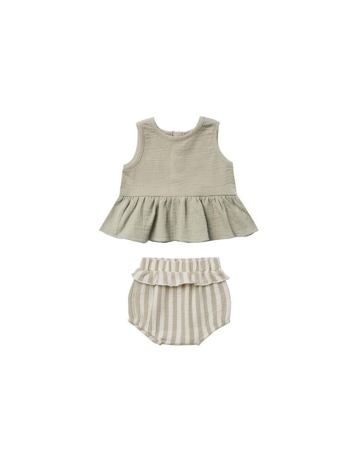 Quincy Mae Sleeveless Peplum Set/Sage Stripe