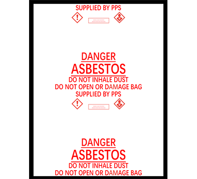 Asbestos Bags, 900mm  x 1200 mm x 200 micron Box of 50