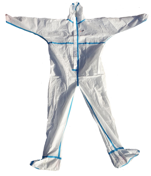 Premium Type 5/6 Coveralls (HazPro Plus Taped Seams with Booties PPS Branded) White box of 50