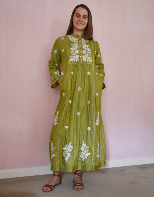 Chikankari silk dress at Pigotts Store