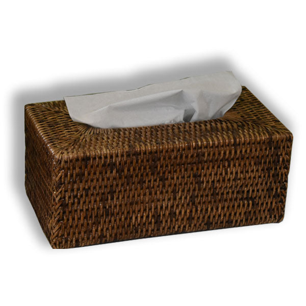 rattan tissue box cover brown at pigott's store