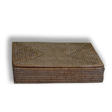 Load image into Gallery viewer, rattan paper tray with lid white wash at pigott's store