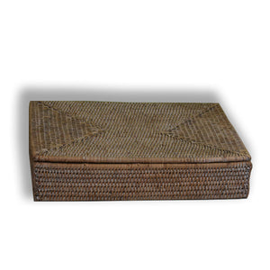 rattan paper tray with lid white wash at pigott's store