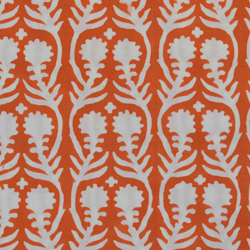 Sally Orange Fine Indian Cotton Fabric at Pigott's Store