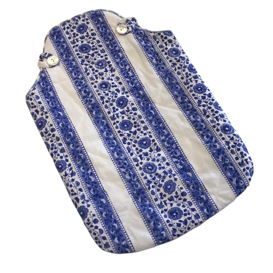 Hot Water Bottle Cover - Stripe Border Blue