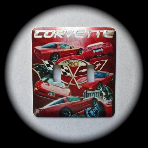 Metal Double Toggle Switch Plate Cover ~ Chevy Corvette - Just Switch It 2