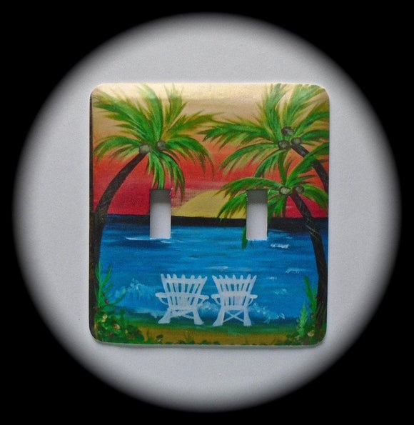 Metal Double Toggle Switch Plate Cover ~ Tropical Palm Tree Scene - Just Switch It 2