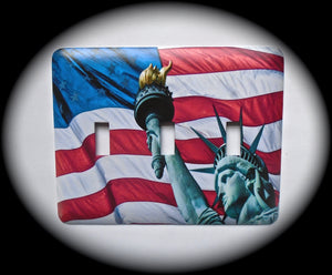 Metal Triple Toggle Switch Plate Cover ~ US Flag, Statue of Liberty - Just Switch It 2