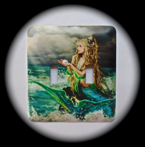 Metal Double Toggle Switch Plate Cover ~ Mermaid, Ocean - Just Switch It 2