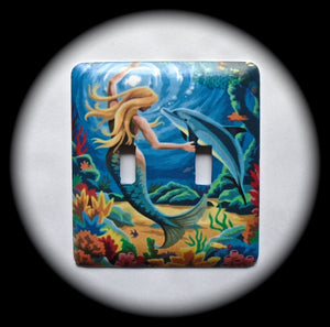 Metal Double Toggle Switch Plate Cover ~ Mermaid - Just Switch It 2