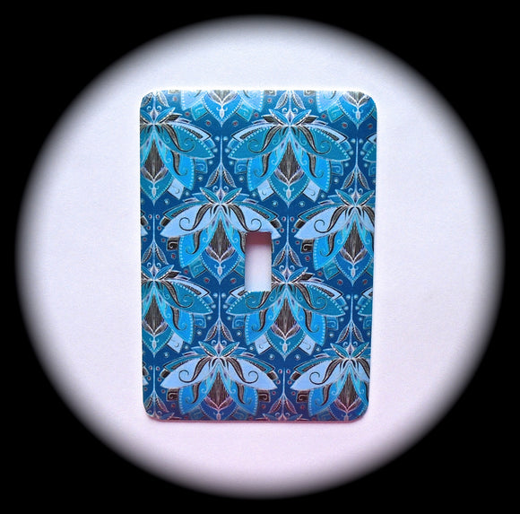 Metal Single Toggle Switch Plate Cover ~ Art Deco Blue - Just Switch It 2
