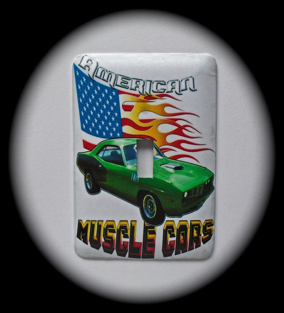 Metal Single Toggle Switch Plate Cover ~ American Muscle Cars - Just Switch It 2