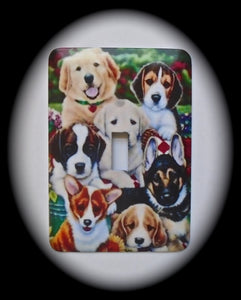 Metal Single Toggle Switch Plate Cover ~ Dogs - Just Switch It 2