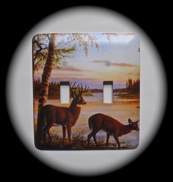 Double Switch Plate ~ Deer