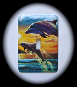 Metal Single Toggle Switch Plate Cover ~ Dolphins - Just Switch It 2