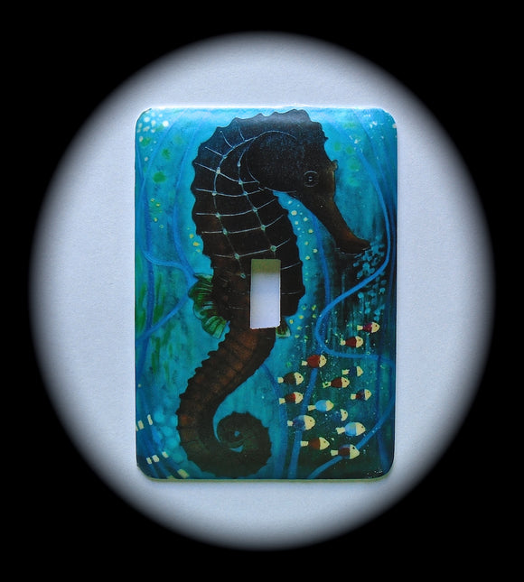 Metal Single Toggle Switch Plate Cover ~ Seahorse, Ocean - Just Switch It 2