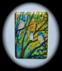 Metal Single Toggle Switch Plate Cover ~ Blue Birds - Just Switch It 2
