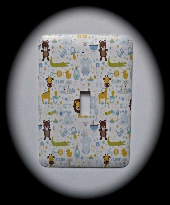Metal Single Toggle Switch Plate Cover ~ Animal Baby Print - Just Switch It 2