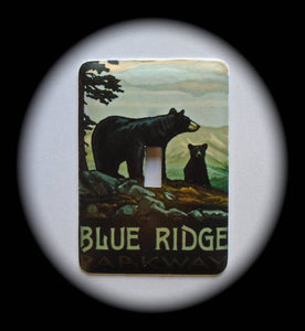 Metal Single Toggle Switch Plate Cover ~ Blue Ridge Parkway Bears - Just Switch It 2