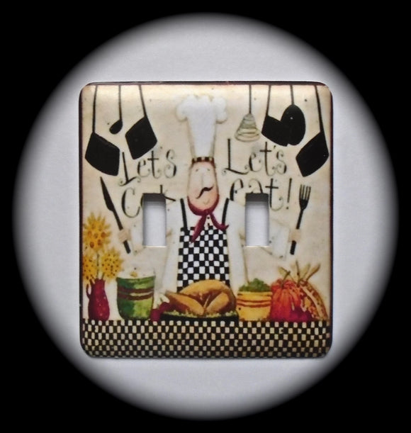 Metal Double Toggle Switch Plate Cover ~ Chef Cooking - Just Switch It 2
