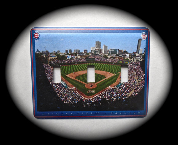 Metal Triple Toggle Switch Plate Cover ~ MLB Wrigley Field - Just Switch It 2