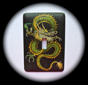Metal Single Toggle Switch Plate Cover ~ Asian Dragon - Just Switch It 2