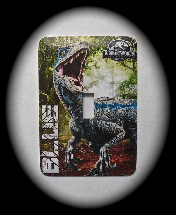 Metal Single Toggle Switch Plate Cover ~ Dinosaur, Blue - Just Switch It 2