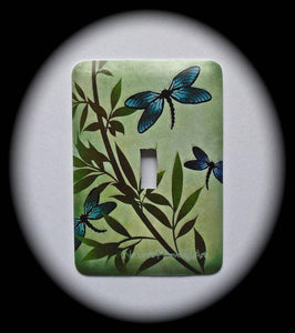 Metal Single Toggle Switch Plate Cover ~ Dragonflies Floral - Just Switch It 2