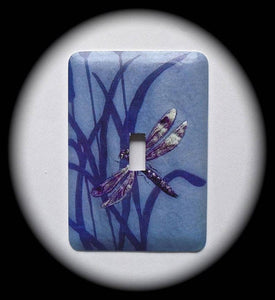 Metal Single Toggle Switch Plate Cover ~ Dragonfly Floral - Just Switch It 2