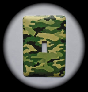 Metal Single Toggle Switch Plate Cover ~ Camouflage Print - Just Switch It 2