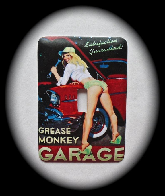 Metal Single Toggle Switch Plate Cover ~ Grease Monkey Garage - Just Switch It 2