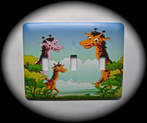 Metal Triple Toggle Switch Plate Cover ~ Giraffe Print - Just Switch It 2