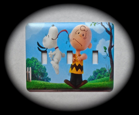 Metal Triple Toggle Switch Plate Cover ~ Cartoon Favorite - Just Switch It 2