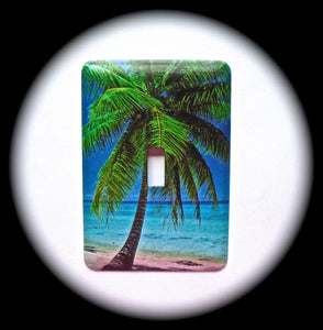 Metal Single Toggle Switch Plate Cover ~ Tropical Scene - Just Switch It 2