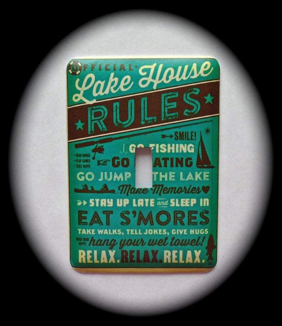 Metal Single Toggle Switch Plate Cover ~ Lake House Rules - Just Switch It 2