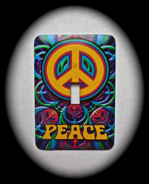 Metal Single Toggle Switch Plate Cover ~ Peace Sign - Just Switch It 2