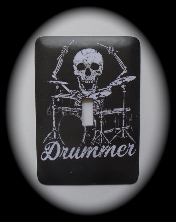 Single Switch Plate ~ Drummer Skeleton