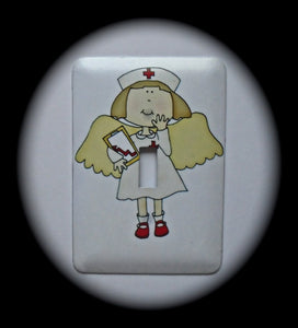 Metal Single Toggle Switch Plate Cover ~ Nurse Angel, RN - Just Switch It 2